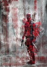 DEADPOOL MARVEL  WATERCOLOUR ART Image A4 poster Gloss Print laminated (New)
