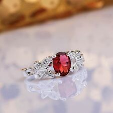 Jewelry Women 925 Sterling Silver Ruby Crystal Engagement Wedding Ring Size 7 8