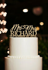 Personalized Last Name Mr & Mrs Cake Topper w/ Date Custom Wedding Toppers Wood