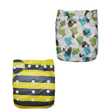 2 Alva Baby Washable Reusable One Size Pocket Cloth Diaper+ 2Insert Hot Patterns