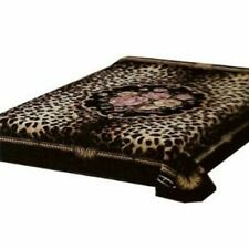 Solaron Korean Blanket throw Thick Mink Plush King size Leopard Flowers Licensed