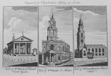 OLD LONDON CHURCHES c1770 CHURCH ST PAULS COVENT GARDEN ST MARY ST CLEMENTS