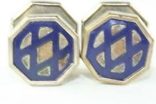 VTG 1920'S ART DECO JEM LINK NAVY BLUE CELLULOID SNAP LINK CUFFLINKS
