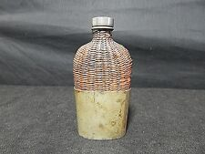 Antique James Dixon & Sons England Wicker Bound Glass Flask Removable Bottom
