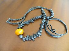 Old Tribal African Trade Beads Black Bird Resin Amber necklace/Carved Bracelet