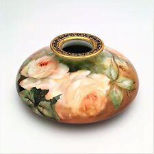 T&V Limoges Tressemann & Vogt Limoges Porcelain Vase, Hand Painted Roses, Signed