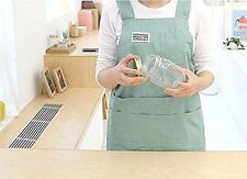 Cozymom Chef Apron Gift Japanese Style H Shape Natural Linen Cotton Apron-mint,b