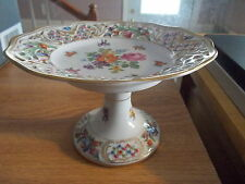 """SCHUMANN Dresden Floral Reticulated Compote 6 1/4"""""""