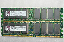 2 GB 2X1GB DDR-400 PC3200U KINGSTON KVR400X64C3A  LOW DENSITY  MAC & PC 184 PIN