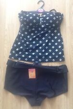 TU BLACK AND WHITE TANKINI BIKINI 12 TOP & 12 BOY SHORT BOTTOMS BNWT