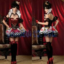 Alice in Wonderland queen of heart Cosplay Costume Adult Dress Womens Halloween