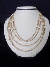 Vintage Designer Signed GM Necklace Tan Bead Gold plate Multi Chain Box Clasp