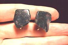 Green white moss mossy agate gemstone chip specimen slice screw back earrings