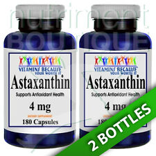 Astaxanthin 4mg 2X180 Capsules (from Haematococcus Algae) by Vitamins Because