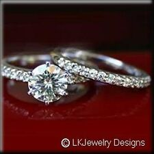 1.25 Ct FOREVER CLASSIC MOISSANITE ROUND WEDDING SET MICRO PAVE RINGS