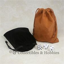 "NEW 5"" x 7"" Black & Brown Velveteen Cloth Dice Bag 2pc Set RPG Counter Pouch"