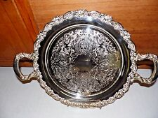 """Tray Round 15"""" Handled Rose Floral 1935 Oneida  Du Maurier Silver Plate"""