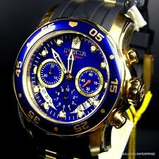 Mens Invicta Pro Diver Scuba Gold Plated Blue Chronograph Rubber 48mm Watch New