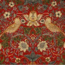 Oilcloth Fabric Offcut, William Morris Strawberry Thief Scarlet Design, Superb