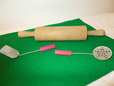 1950's Childs Wooden Rolling Pin, Red Handle Spatula and Strainer