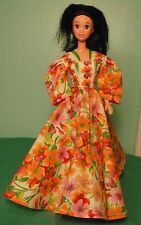 Orange and Pink Floral on Cream Gown for Barbie & Teen Skipper Dolls MS110