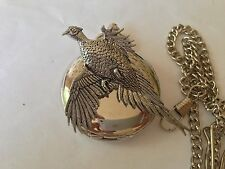 B4 Large Pheasant  polished silver case mens GIFT quartz pocket watch fob