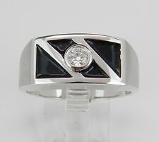 Mens Diamond and Black Enamel Wedding Ring Solitaire Anniversary Band White Gold