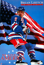 Vintage Original BRIAN LEETCH MADE IN AMERICA New York Rangers 1993 POSTER