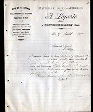 """CHATEAUMEILLANT (18) MATERIAUX de CONSTRUCTION / BOIS """"A. LAPORTE"""" en 1911"""
