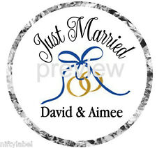 108 HERSHEY KISS GLOSSY STICKER LABELS ~ JUST MARRIED WEDDING RINGS