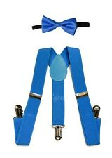 Blue Suspender and Bow Tie Set for Baby Toddler Kids Boys Girls (USA Seller)