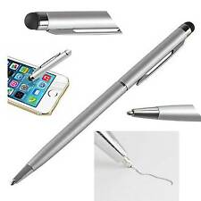 5X Silver 2-in-1 Touch Screen Stylus + Ballpoint Pen For iPhone Pad PC Tablet