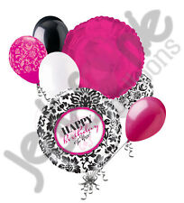 7 pc Happy Birthday Damask Balloon Bouquet Party Decoration Black White Rose