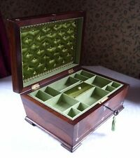 ANTIQUE GEORGIAN ROSEWOOD & MOTHER OF PEARL INLAID SARCOPHAGUS JEWELLERY BOX