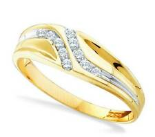 Men's 100% 10K Yellow Gold Genuine Channel Set White Diamond Ring Band .12ct