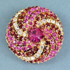 Vintage Brooch ART 1950s Red Pink & Clear Crystal Goldtone Bridal Jewellery