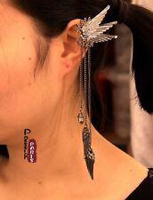 Boucles d`Oreilles Clips Extravagant Longue Tassel Ail Argenté Noir Original J5