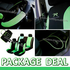 13 Pcs Green Black R Racing Car Seat Covers Set Pads Mats Steering Wheel Cover