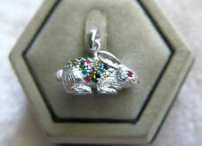 Sterling Silver multi color Swarovski Crystals ruby Bunny Rabbit Pendant Thai