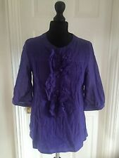 Topshop Ladies Purple Sheer Ruffled Blouse Top Uk 10