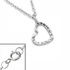 Sterling Silver 925 Tiny Heart Pendant & 18 Inch Necklace With Gift Box