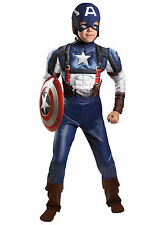 Captain America Deluxe Muscle Marvel The Winter Soldier Superhero Boys Costume L