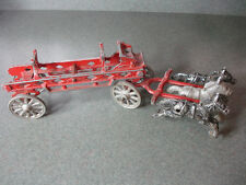 Old Vtg Antique Collectible Aluminum Horse Drawn Fire Truck Fire Engine Toy