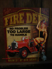 **USA MADE METAL FIRE DEPT STATION SIGN truck vehicle pinup girl pole woman hat