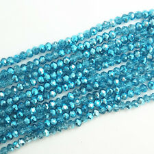 New 100pcs Faceted Rondelle Charms Loose Glass Spacer Beads 6X4mm Sky Blue
