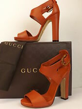 NIB GUCCI NADEGE NEW RUST LEATHER STIRRUP BAMBOO BUCKLE SANDALS PUMPS 40 $800