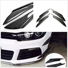 4 PCS black Real Carbon Fiber Car Front Bumper Canard Splitter Canards Exterior