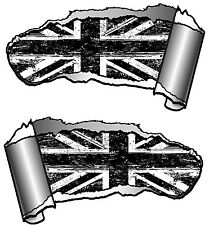 Small Pair Ripped Open Metal Rip GASH B&W GRUNGE Union Jack Flag Car Sticker MOD