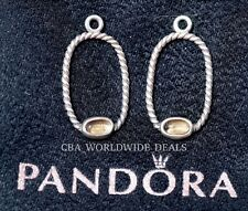 NEW Authentic PANDORA Silver Charm Smokey Quartz Oval Rope Earrings 290607SQ
