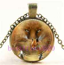 Vintage Spirit Of The Red Fox Cabochon Glass Bronze Chain Pendant Necklace